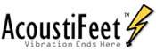 AcoustiFeet. Image shows AcoustiFeet logo with 'Vibration Ends Here' strapline.