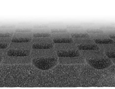 AcoustiContour Surface Close-Up - image of the unique new anechoic surface. The acoustic foam surface area is increased by approx. 45%. The larger the surface area, the more effective the acoustic foam becomes at absorbing noise energy due to lower reflection and refraction of sound waves.