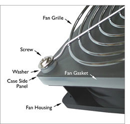 Image showing 120mm Black PC cooling fan fitted with a soft clear silicone fan gasket. The gasket screws are long enough to allow the fitting of a fan grille to the outside of the case - which is shown in the foreground.