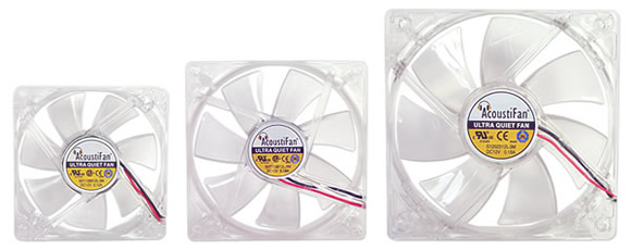 AcoustiFan 80CT, 92CT and 120CT - Rear view of ultra-quiet case fans.