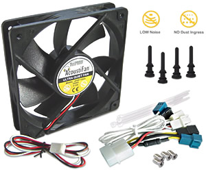 AcoustiFan - A range of very quiet, multi-purpose long-life PC fans supplied with accessories for truly noiseless operation. Image shows a Black AcoustiFan DustPROOF 120mm PC fan showing the metallic badge on the back of the fan motor. In the forground are the fan accessories: a 3-speed fan cable, 4x tie wraps and 4x fan mounting screws. Also showing graphics depicting low noise and no dust ingress