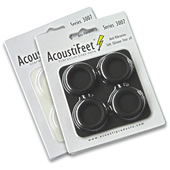 Anti-vibration replacement low-profile 'AcoustiFeet' - image showing a set of 4 ACF3007-25B (in Matt Black) upsidedown, with self-adhesive side of the foot hidden