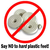 Throw away those hard plastic feet! - they are a nusiance to people who are very fussy about PC noise.