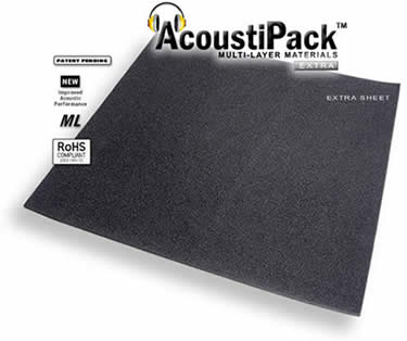 AcoustiPack™ EXTRA Sheet (7mm). Image shows a single black sheet of acoustic materials. Image also contains icons reading: patent pending, new improved acoustic performance, multi-layer and RoHS Compliant.