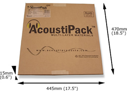 AcoustiPack™ EXTRA kit packaging. Image shows a printed brown cardboard package, with product label, and 'AcoustiPack' logo. The external dimensions are shown.