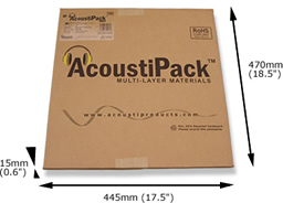 AcoustiPack™ LITE kit packaging. Image shows a printed brown cardboard package, with product label, and 'AcoustiPack' logo. The external dimensions are shown.