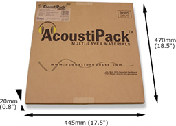 AcoustiPack™ ULTIMATE kit packaging. Image shows a printed brown cardboard package, with product label, and 'AcoustiPack' logo. The external dimensions are shown.