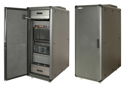 AcoustiRACK ACTIVE - image showing two different views of the 22U data cabinet with soundproofing and integrated Active Noise Control (ANC).  Both images show a dust filter on the roof of the rack cabinet, and the left image shows the front door open to display acoustic materials lining the inside of the door, the upper and lower fan tray units, and installed 19-inch equipment.
