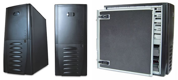 Antec SLK 3700 BQE - Front and open views of the Black Quiet Edition case with Soundproofing Materials.