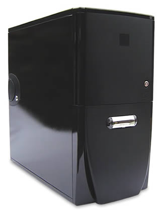 Front view (left offset) of the Antec Sonata II case. The acoustic kit cannot be seen from the outside once installed. The left (opening) case side panel has a gloss black finish, and shows a reflection.