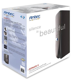 Antec Sonata II Retail Packaging. The caption reads: silence is beautiful.