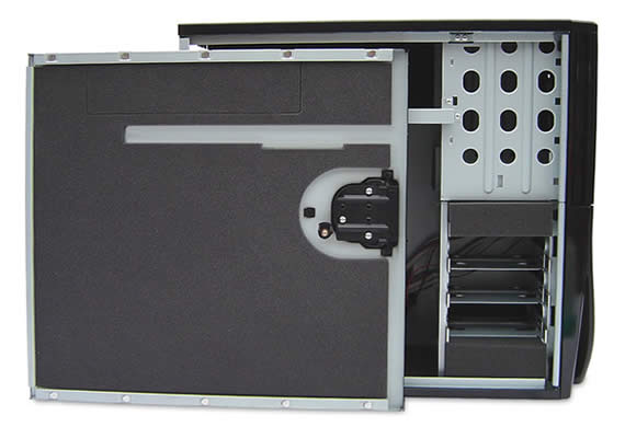 Side-on view of the Antec Sonata II showing the door with dark gray acoustic composite soundproofing material applied.