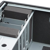 Antec Sonata II Pre-cut AcoustiPack. Image showning installed kit: the floor is lined, and there are foam blocks for unused HDD slots.